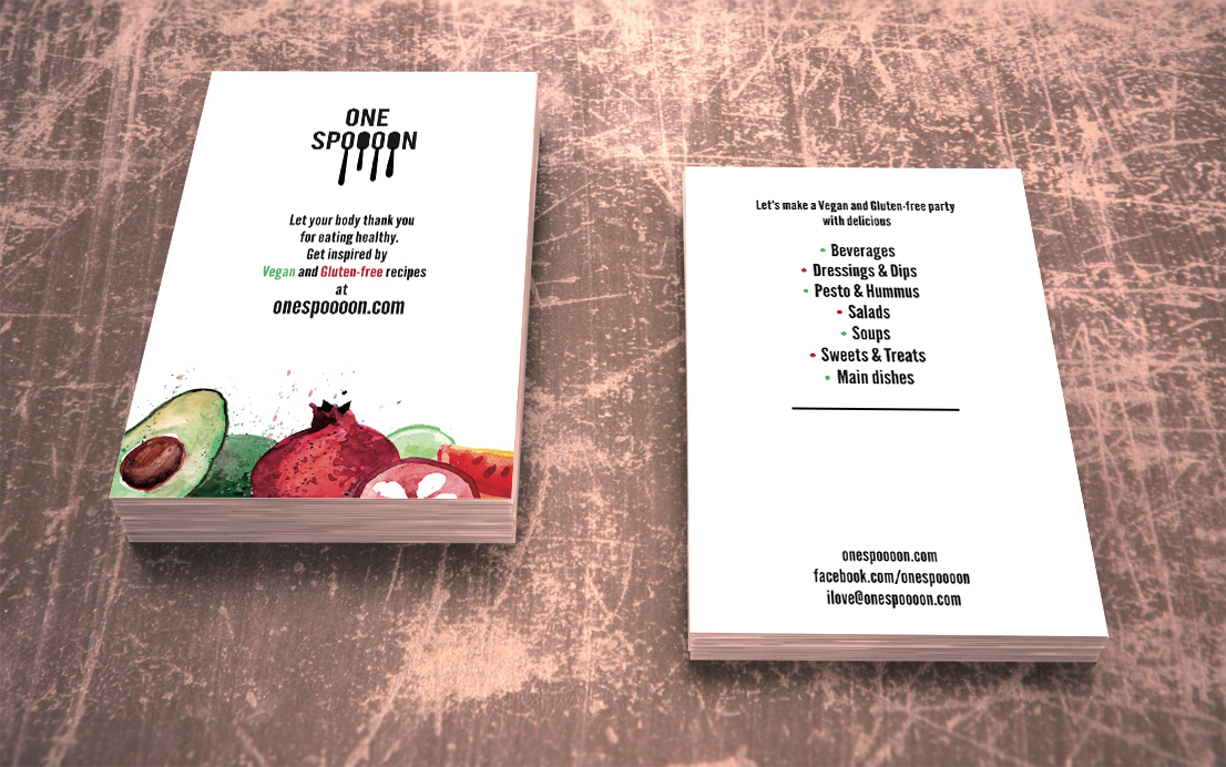 logo and business card for my food blog onespoooon com eva